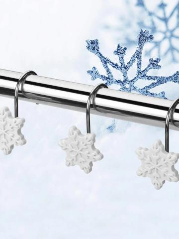 12-Pieces: Christmas Shower Curtain Anti-Rust Hooks / Snowflake