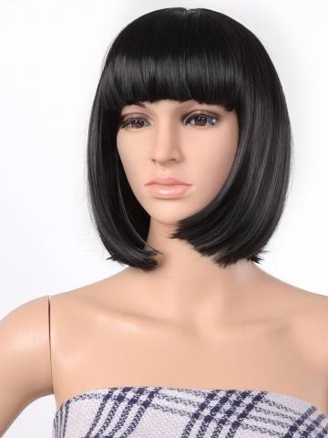 13 Inches Straight Heat Resistant Short Bob Full Hair Wigs with Flat Bangs