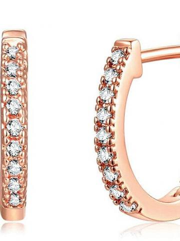 14K Gold Plated Cubic Zirconia Cuff Huggie Earrings / Rose Gold