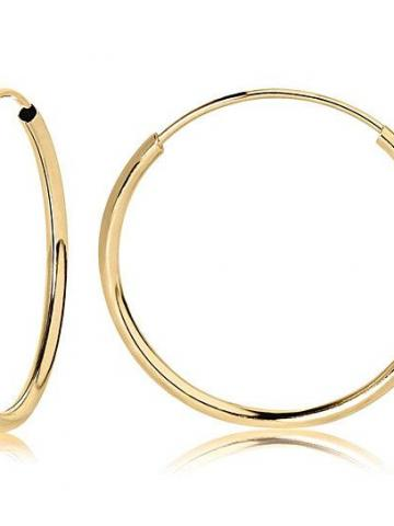 14K Yellow Gold Endless Hoop Earrings / 10mm