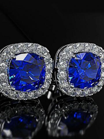 18K White Gold Plated Princess Halo Cut Stud Earring With Swarovski Crystals / Blue