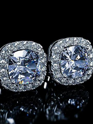 18K White Gold Plated Princess Halo Cut Stud Earring With Swarovski Crystals / Clear