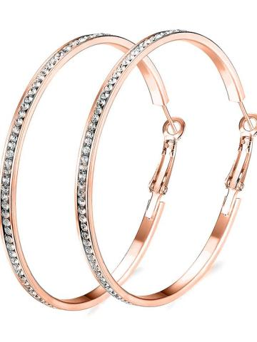 """2"""" Pave Hoop Earring with Swarovski Crystals in 18K White Gold Plated / Rose Gold"""