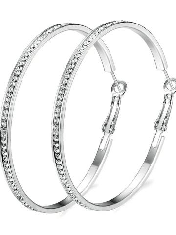 """2"""" Pave Hoop Earring with Swarovski Crystals in 18K White Gold Plated / Silver"""