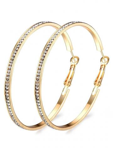"""2"""" Pave Hoop Earring with Swarovski Crystals in 18K White Gold Plated"""