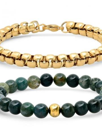 2-Piece: Green Agate Beaded and 18k Gold Plated Box Link Bracelet Set