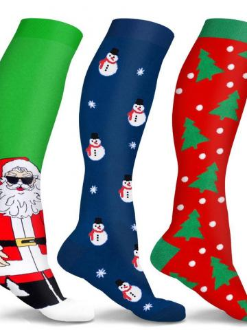 3-Pair: Holiday Knee-High Compression Socks / S/M