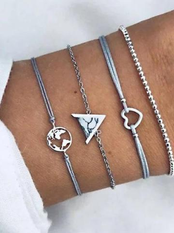 4-Piece: White Marble Pyramid Filigree World Bracelet Set