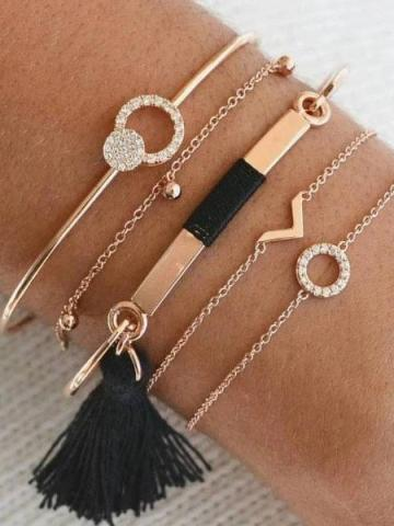 5-Piece: Black Tassel Pav'e Bracelet Set