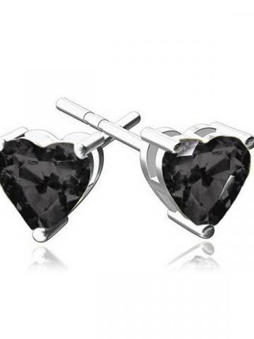 6MM Heart Stud Earring With Swarovski Crystals / Black