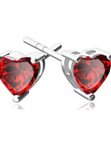 6MM Heart Stud Earring With Swarovski Crystals / Red