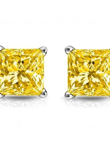 6MM Princess Stud Earring With Swarovski Crystals / Yellow