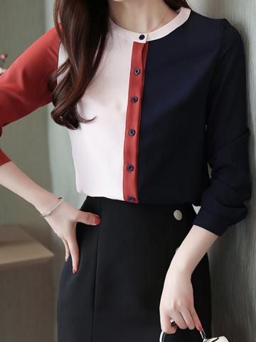Band Collar Colorblock Round Neck Blouse