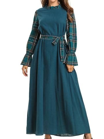 Contrast Stitching Printed Round Neck Dress