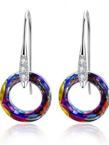 Enlightening Dangle Earrings with Swarovski Crystals in 18K White Gold Plated / Volcano