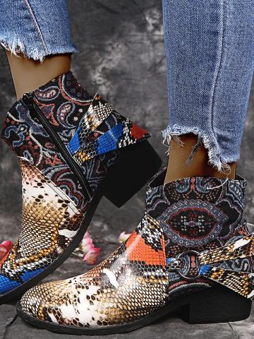 Fashion leopard print women's leather boots