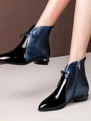 Fashion patent leather pointed toe boots