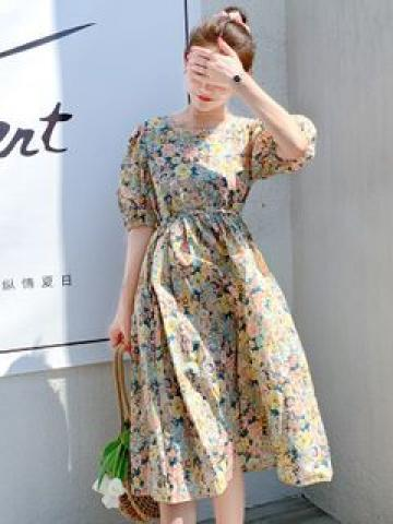 Floral Print Puff-Sleeve Midi A-Line Dress