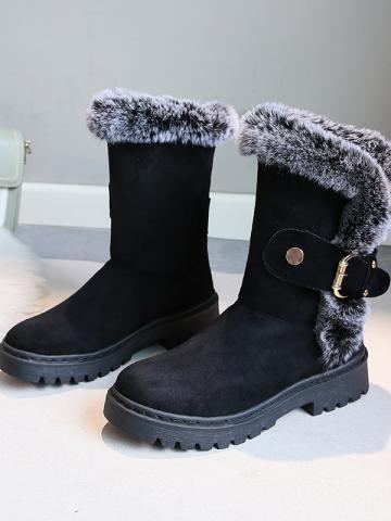 Individual flat with thick bottom and velvet warm snow boots
