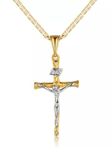Jesus Crucifix Cross Gold Plated Pendant Necklace / 18""