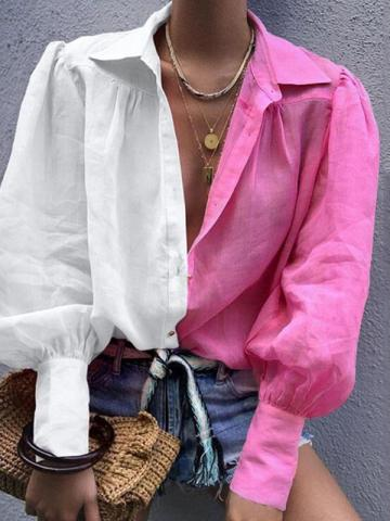 Lapel Regular Color Block Long Sleeve Womens Blouse