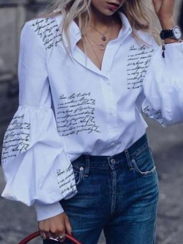 Letter Lapel Print Lantern Sleeve Short Womens Blouse