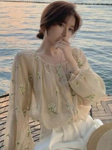 Long-Sleeve Floral Embroidered Buttoned Sheer Blouse As Shown In Figure - One Size