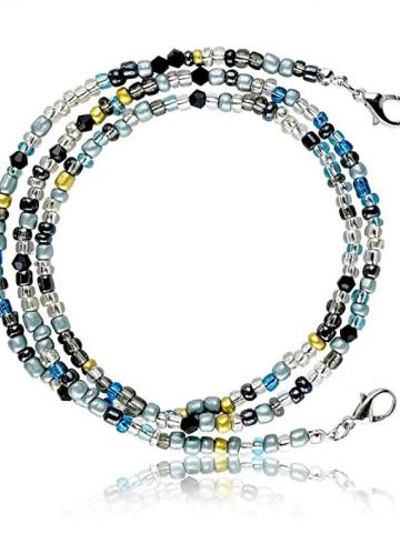 """Multi-Color Face Mask Holder Beads Chain Necklace / Green / 28"""""""