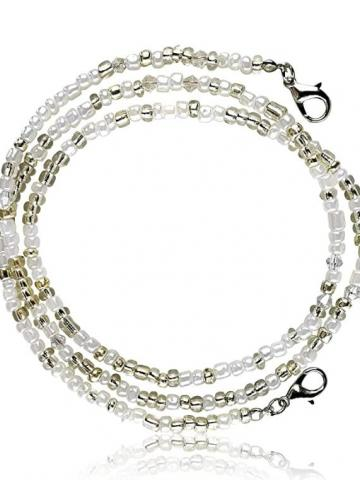 """Multi-Color Face Mask Holder Beads Chain Necklace / White / 28"""""""