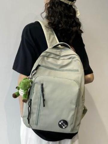 Plain Nylon Zip Backpack