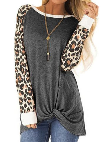 Round Neck Leopard Patchwork Long Sleeve T-shirt