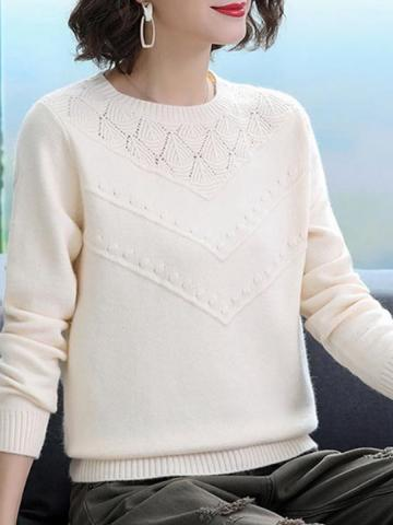 Round Neck Long Sleeve Knitted Hollow Thick Pullover