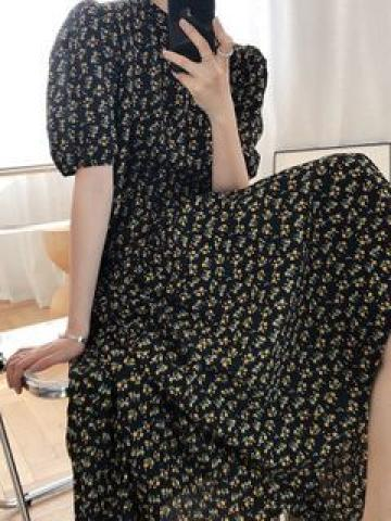 Short-Sleeve Floral A-Line Midi Dress