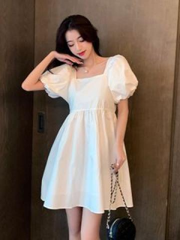 Square-Neck Puff-Sleeve Mini A-Line Dress