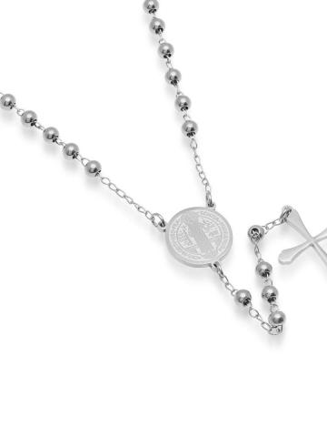 Stainless Steel Saint Benedict Rosary Necklace
