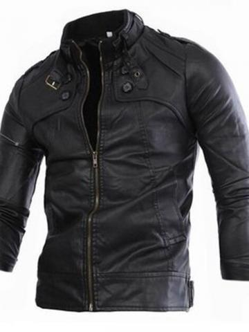 Stand Collar Standard Plain Spring Mens Leather Jacket