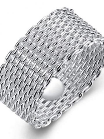 Sterling Silver Plated Woven Mesh Ring / 5