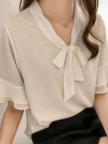 Tie-Neck Short-Sleeve Blouse