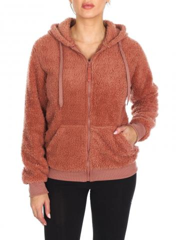 Women's Inner and Outer Sherpa Hoodie Sweatshirt Jacket / Rose Dawn / Small