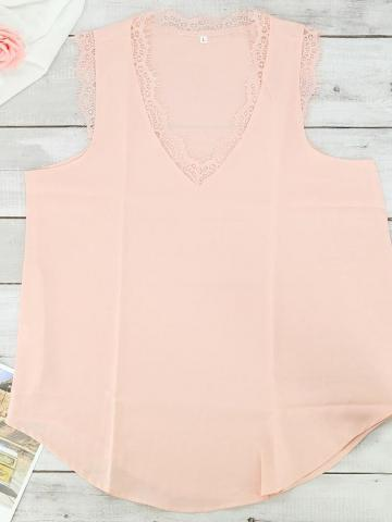 Women's Lace Tank Top / Pink / Small