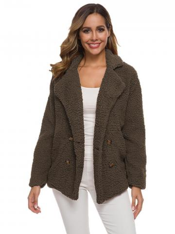 Women's Soft Comfy Plush Pea Coat - Assorted Colors / Coffee / Small