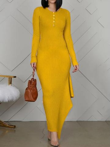 Yellow Round Neck Floor-Length Long Sleeve Asymmetrical Womens Dress