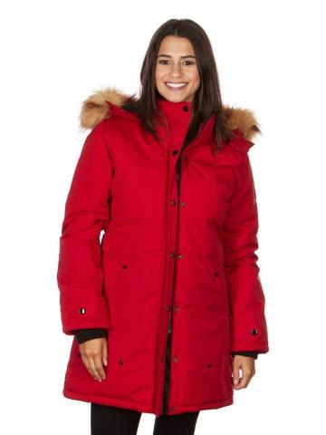 Yoki Women's Mid Length Hooded Puffy Coat / Red / Small